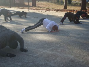 Northern Shaolin Kung Fu students working on Cat Push Ups