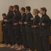 Martial Art students lined up at attention for test