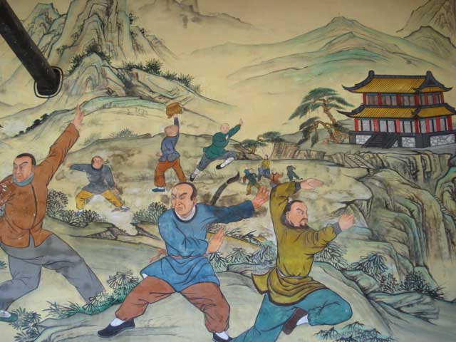 Chinese mural depicting Kung fu training