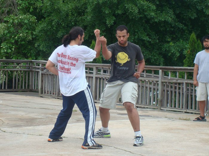 Jay and Philip doing Northern Shaolin Iron Pole during test