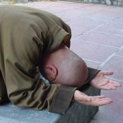 A Buddhist monk bowing